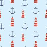 Waterverfhand getrokken overzees zeevaart naadloos patroon Stock Afbeelding
