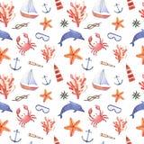 Waterverfhand getrokken overzees zeevaart naadloos patroon Stock Foto
