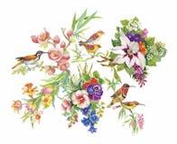 Waterverfhand getrokken patroon met tropische de zomerbloemen van en exotische vogels Stock Afbeeldingen