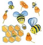 Waterverfhand getrokken reeks met vliegende bijen, bloemen en honingraten royalty-vrije illustratie