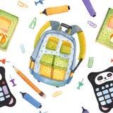 Waterverfhand getrokken reeks schoolpunten Onthaal terug naar school Lijm, teller, nota's, potlood, notitieboekje, aktentas royalty-vrije illustratie