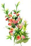 Waterverfhand getrokken tot bloei komende amandelen op witte achtergrond FL Stock Foto's