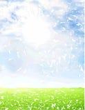 Waterverfhemel en groene achtergrond Royalty-vrije Stock Fotografie