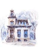 Waterverfhuis in de winter royalty-vrije illustratie