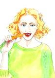 """Waterverfillustratie die """"Meisje een carroteten"""" Stock Foto"""