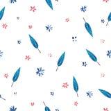 Waterverfillustratie, leuk bloemenpatroon Stock Foto