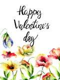 Waterverfillustratie met bloemen en titel Gelukkige Valentijnskaarten Stock Afbeelding