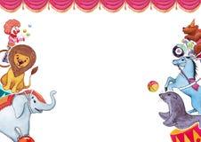 Waterverfillustratie met grappige dieren en kunstenaars, templateforaffiche, banner, kaart Het circus, toont, prestaties royalty-vrije illustratie