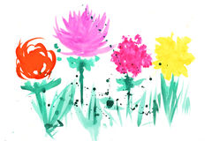 Waterverfillustratie met Kleurrijke Abstracte Bloemen Royalty-vrije Stock Fotografie
