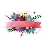Waterverfillustratie met lint en boeket van bloemen Stock Afbeeldingen