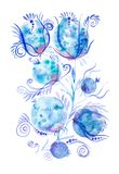 Waterverfillustratie met mooie abstracte bloem Ge?soleerdj op witte achtergrond stock illustratie