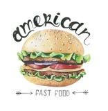Waterverfillustratie met snel voedsel Hamburgeraffiche royalty-vrije illustratie