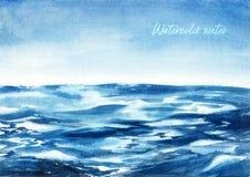 Waterverfillustratie - oceaan blauwe golf royalty-vrije stock afbeelding