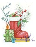 Waterverfillustratie tegen nieuw jaar royalty-vrije stock afbeelding