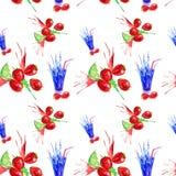 Waterverfillustratie van aardbei, kalk en sapplons in een glas Geïsoleerdj op witte achtergrond Naadloos patroon vector illustratie
