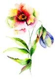 Waterverfillustratie van bloemen Stock Foto