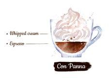 Waterverfillustratie van Con Panna koffie vector illustratie