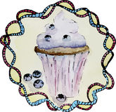 Waterverfillustratie van cupcake met bosbessen Royalty-vrije Stock Foto