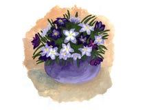 Waterverfillustratie van een boeket van bloemen stock illustratie