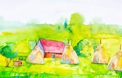 Waterverfillustratie van een dorpshuis en hooibergen met een hondehok in de voorgrond Groen bos op de achtergrond royalty-vrije illustratie