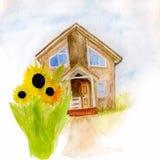 Waterverfillustratie van een huis met zonnebloemen stock illustratie