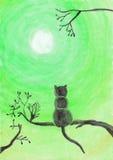 Waterverfillustratie van een kat op een boom Stock Afbeelding