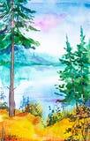 Waterverfillustratie van een mooi Russisch bos op het meer en geel gras in de voorgrond stock illustratie