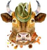 Waterverfillustratie van een rode stier met hoed Stock Fotografie