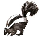 Waterverfillustratie van een stinkdier op witte achtergrond vector illustratie
