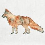 Waterverfillustratie van een vossilhouet Stock Foto