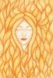 Waterverfillustratie van een vrouw met gesloten die ogen met bundels van gouden haar worden behandeld stock illustratie