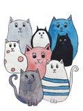 Waterverfillustratie van heldere leuke katten De karakters van het beeldverhaal royalty-vrije illustratie