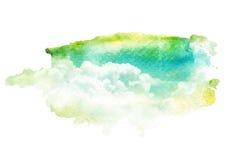 Waterverfillustratie van hemel met wolk vector illustratie