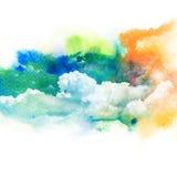 Waterverfillustratie van hemel met wolk Stock Fotografie