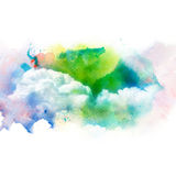Waterverfillustratie van hemel met wolk Stock Afbeelding