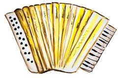 Waterverfillustratie van het spelen van de harmonika Stock Foto