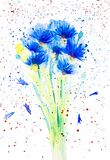 Waterverfillustratie van mooi abstract blauw bloemenboeket Geïsoleerdj op witte achtergrond royalty-vrije illustratie