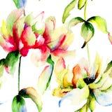 Waterverfillustratie van Pioenbloemen Royalty-vrije Stock Afbeeldingen