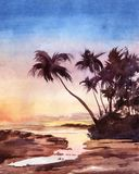 Waterverfillustratie van tropische zonsondergang stock foto