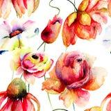 Waterverfillustratie van wilde bloemen Stock Fotografie
