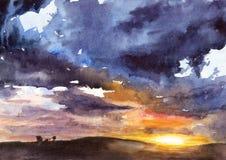 Waterverfillustratie van zonsondergang royalty-vrije stock afbeeldingen
