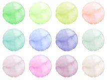 Waterverfillustratie voor artistiek ontwerp Ronde vlekken, vlekken van blauwe, rode, groene, bruine kleur royalty-vrije illustratie