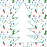 Waterverfillustratie voor het decor van de de wintervakantie met Kerstmisbomen, sneeuwvlokken, giften en ballen royalty-vrije illustratie