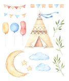 Waterverfillustraties - Jonge geitjestent, maan en sterren, ballons, stock illustratie