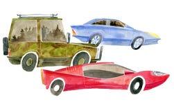 Waterverfillustraties van drie auto's die verschillende klassen vertegenwoordigen stock foto's