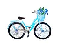 Waterverfilustration van blauwe die retro fiets met bloemen in een mand, op wit wordt geïsoleerd royalty-vrije stock foto's