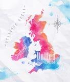 Waterverfkaart het Verenigd Koninkrijk en het roze van Schotland Stock Foto's