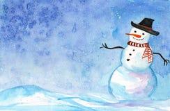 Waterverfkaart met een sneeuwman De winterlandschap voor kaarten, uitnodigingen, groetkaarten vector illustratie