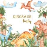Waterverfkaart met leuke beeldverhaaldinosaurussen stock illustratie
