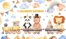 Waterverfkaart voor kinderen` s verjaardag royalty-vrije illustratie